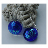 Handmade Fused Dichroic Glass Earrings 221 Blue Aqua Rays