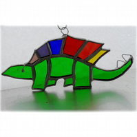 Dinosaur Suncatcher Stained Glass Stegosaurus Green 029