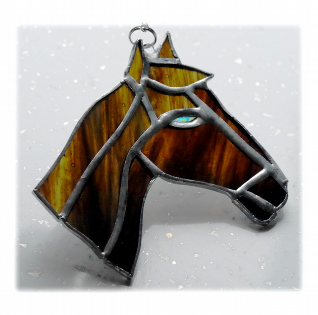 Horse Suncatcher Stained Glass Horsehead Brown 088