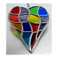Patchwork Heart Suncatcher Stained Glass Handmade Rainbow 039