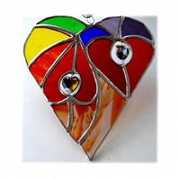 Heart of Hearts Suncatcher Rainbow Stained Glass 054