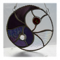 Yin Yang Suncatcher Stained Glass Handmade Purple 009