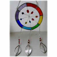 Dreamcatcher Stained Glass Suncatcher  Rainbow 020