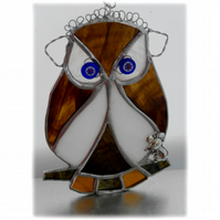 Owl Suncatcher Stained Glass Handmade Bird 029
