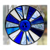 Winter Solstice Suncatcher Stained Glass Handmade Colour Wheel Blues 005