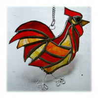 Cockerel Suncatcher Stained Glass chicken 027
