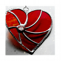 Red Swirl Heart Stained Glass Suncatcher 032