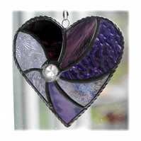 Purple Swirl Heart Stained Glass Suncatcher 033