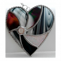 Black Swirl Heart Stained Glass Suncatcher 030
