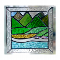 Picos Mountains Picture Suncatcher Stained Glass 006