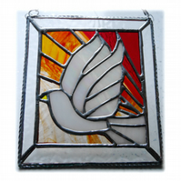 Sunset Dove Stained Glass Picture Suncatcher Handmade 009