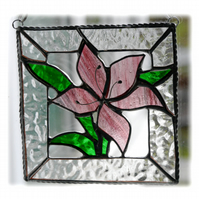 Lily Stained Glass Suncatcher Pink Framed 016