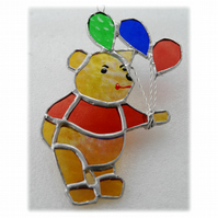 Bear with Balloons Suncatcher Stained Glass Handmade 014