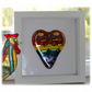 Rainbow Dichroic Heart in Box Frame Fused Glass Picture 001