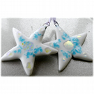 2 white Fused Glass Stars 9cm Dichroic