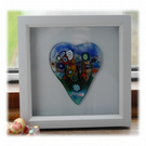 Flower Garden Heart in Box Frame Fused Glass Picture 009 Right House