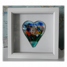 Flower Garden Heart in Box Frame Fused Glass Picture 010 Middle House