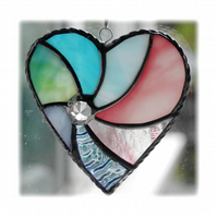 Pastel Swirl Heart Stained Glass Suncatcher 034