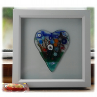 Flower Garden Heart in Box Frame Fused Glass Picture 011 Left House