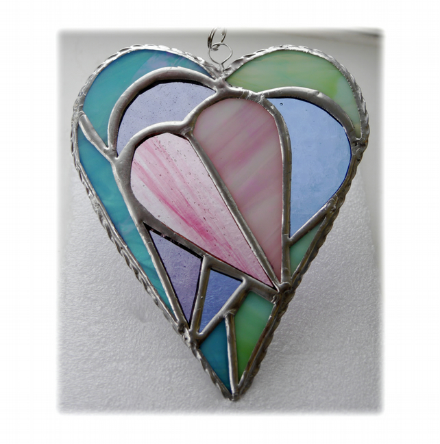 Pastel Triple Heart Stained Glass Suncatcher 001