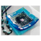 Fused Glass Trinket Dish 8.5cm Turquoise Teal Bordered Dichroic 030