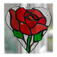 Red Rose Heart Suncatcher Stained Glass 017