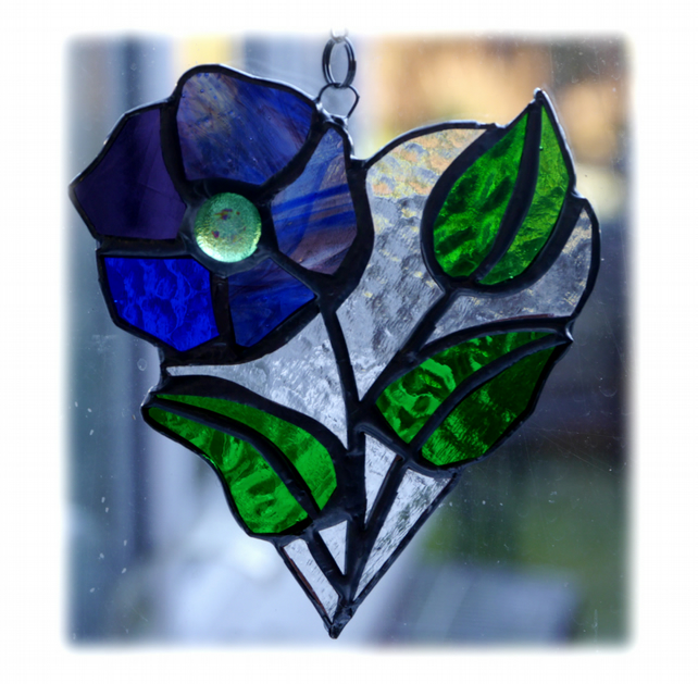 Pansy Heart Suncatcher Stained Glass Flower 017