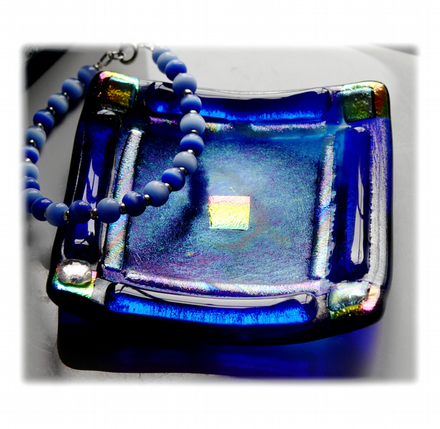 Fused Glass Trinket Dish 8.5cm Blue Bordered Dichroic 033