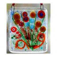 Millefiori Fused Glass Suncatcher Bunch of Flowers 001 Red