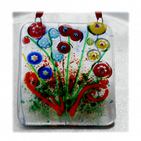 Millefiori Fused Glass Suncatcher Bunch of Flowers 002 Yellow