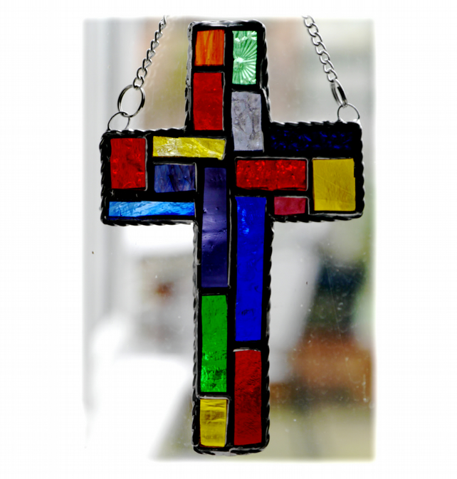 Cross Suncatcher Stained Glass  Patchwork Rainbow Handmade 029