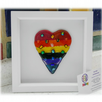 Rainbow Dichroic Heart in Box Frame Fused Glass Picture 002