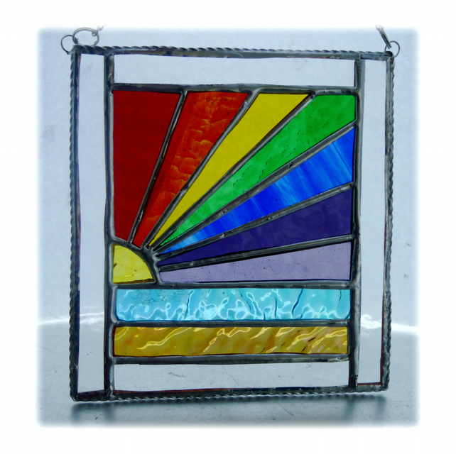 Rainbow Beach Stained Glass Suncatcher Handmade 027