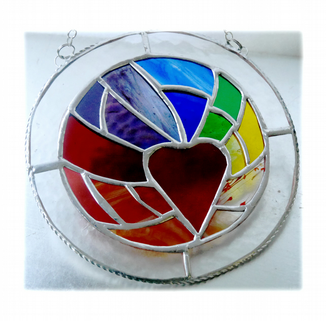 Rainbow Heart Ring Stained Glass Suncatcher