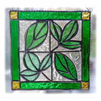 Leaf Tile Suncatcher Stained Glass Spring Green Framed Picture 003