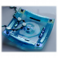 Fused Glass Trinket Dish 9cm Turquoise Bordered Dichroic 035