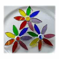 Rainbow Daisy Spray Suncatcher Stained Glass Flowers  004