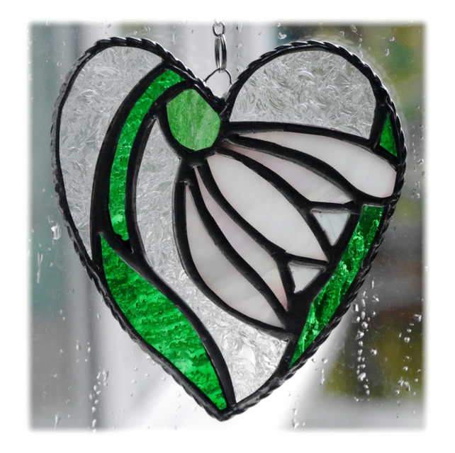 Snowdrop Heart Suncatcher Stained Glass 001