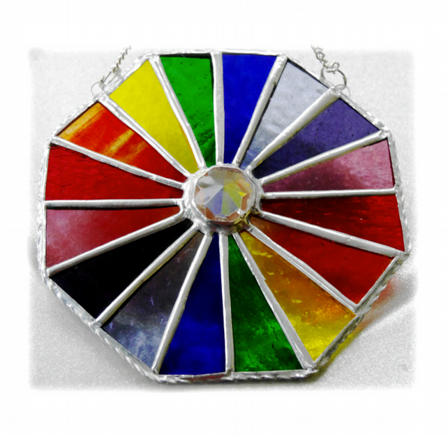 Rainbow Crystal Octagon Suncatcher Stained Glass Handmade