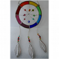 Dreamcatcher Stained Glass Suncatcher  Rainbow 022