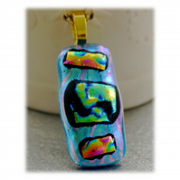 Dichroic Glass Pendant 126 Turquoise Abstract Handmade with gold plated chain