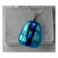 Dichroic Glass Pendant 128 Turquoise Dark Stripe with silver plated chain
