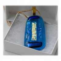 Dichroic Glass Pendant 129 Turquoise Glitter Strip with gold plated chain