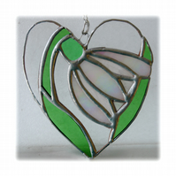 Snowdrop Heart Suncatcher Stained Glass 002