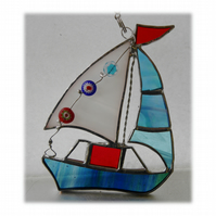 Boat Suncatcher Stained Glass Sailboat Yacht 068