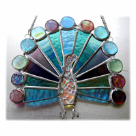 Peacock Suncatcher Dichroic Stained Glass Fanned Tail