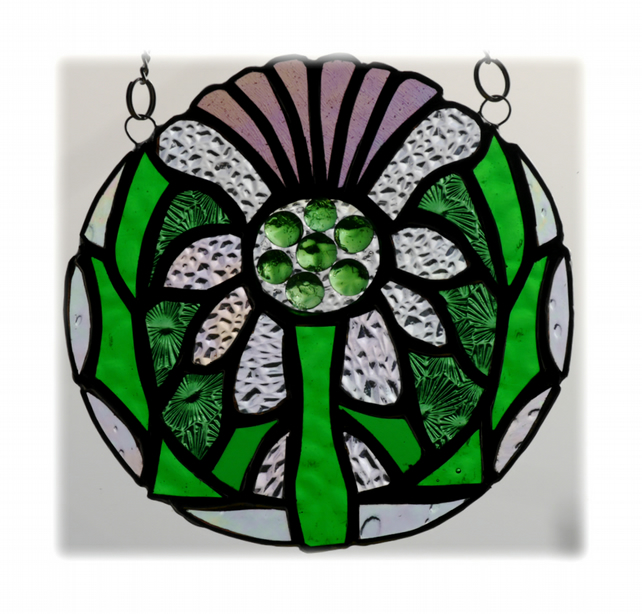 Scottish Thistle Stained Glass Suncatcher Flower of Scotland 008
