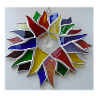 Double Rainbow Sun Suncatcher Stained Glass 003