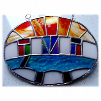 Udaipur Lake Sunrise Stained Glass Suncatcher 001 Indian Colours