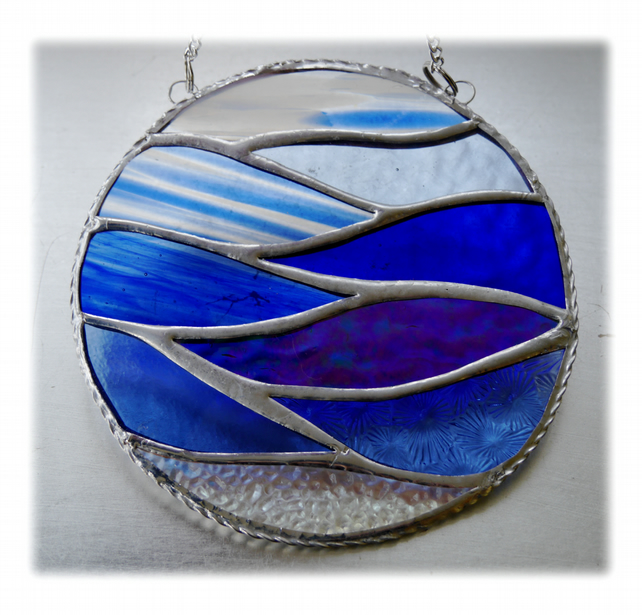 Making Waves Stained Glass Suncatcher Handmade Ring Sea 012